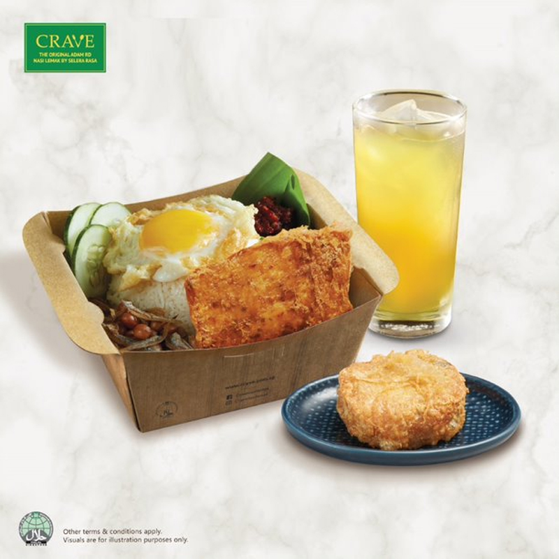 Crave - Chicken Otah Meatloaf Nasi Lemak + 1 Bergedil + 1 Drink At $7.50 (U.P. $9.20)